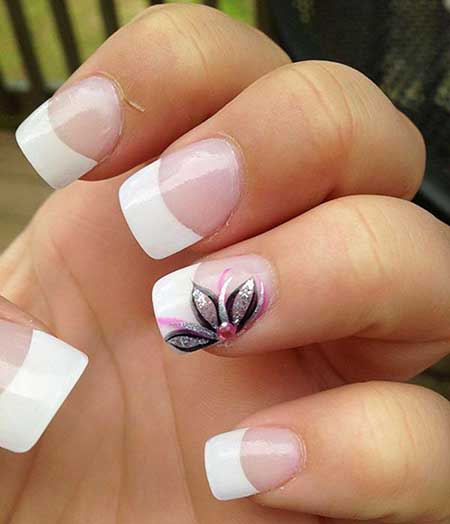 French Nails with Design - 15+ Cute Simple Spring Nail Designs