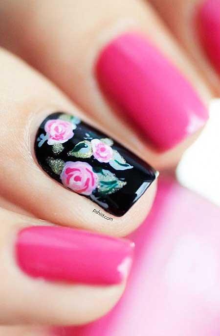 Spring Black Floral Nail Art