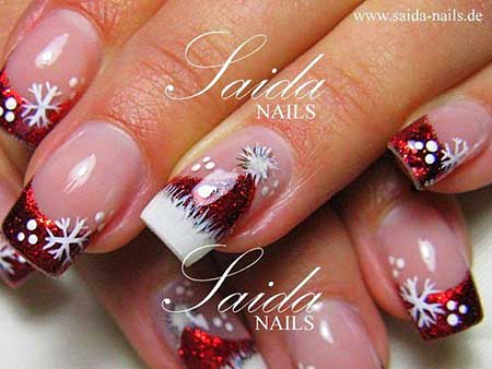 10- Christmas French Manicure Design - Christmas Nail Designs Red And White - Nail Art Designs 2017