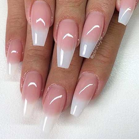 Natural Acrylic Coffin Nails