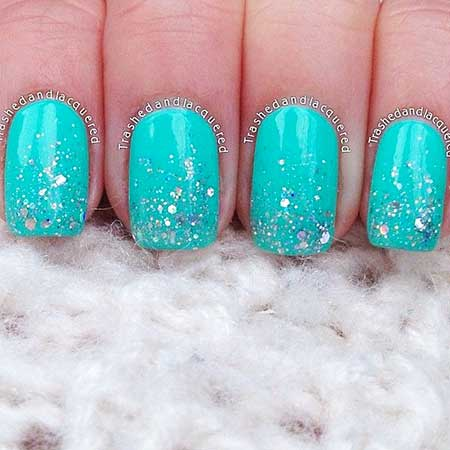 10- Summer Turquoise Nails - 22 Unique Summer Sparkle Nail Designs - Nail Art Designs 2017