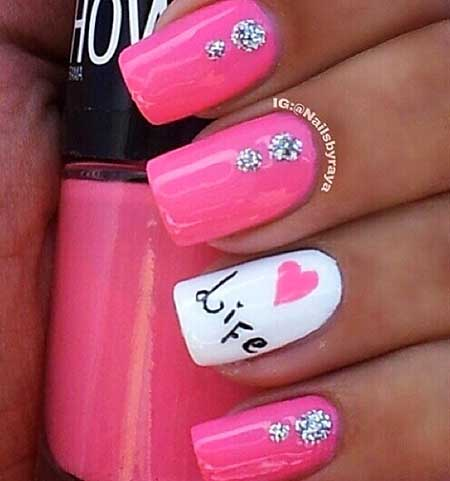 24 Pink Nail Designs with Diamonds French Tip Stiletto Nails With Design