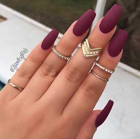 11- Matte Acrylic Nails - 19 Simple Acrylic Nail Designs 2017