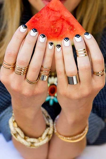 18 easy fun summer nail designs 13 black and white nail designs for short nails prinsesfo Gallery