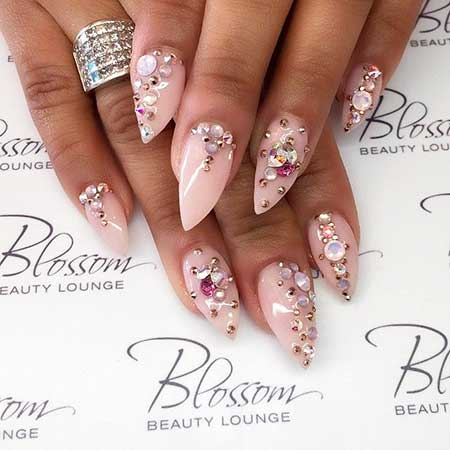 15- Spring Stiletto Nails - 24 Pink Nail Designs With Diamonds