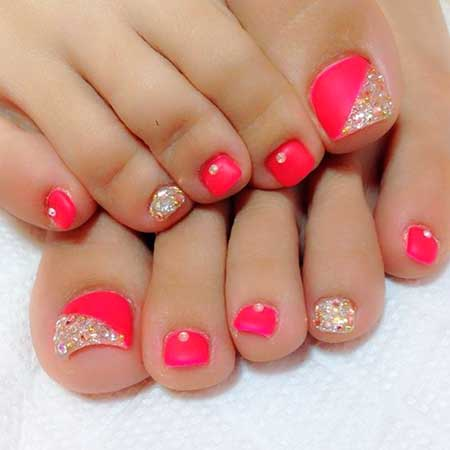 Hot Pink Toe Nail Designs 2017