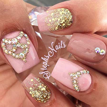 hot pink nails with diamonds-#9