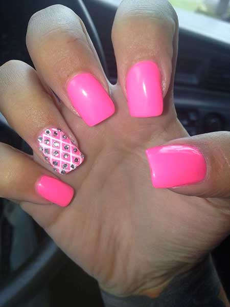 hot pink nails with diamonds - photo #20
