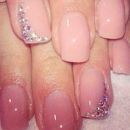 Pink Nail Designs with Diamonds - 22