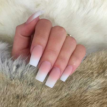 26 Coffin Ombre French Nails