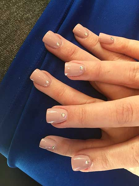 27- Short Acrylic Nails Nude - 27 Square Acrylic Nails Designs 2017