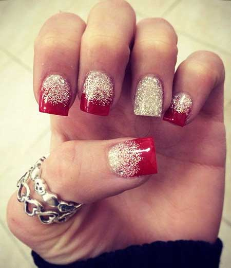 Red And Silver Nails