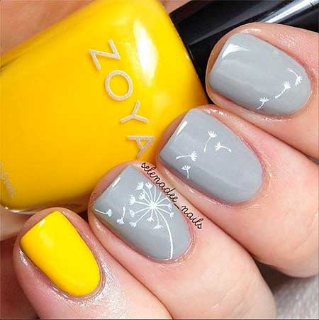 Spring Gray Gel Nail Designs