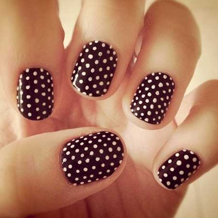 Black And White Polka Dot Nails
