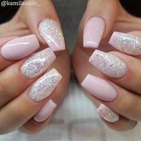 8- Pink Nails with Glitter - Light Pink Nail Designs 2017