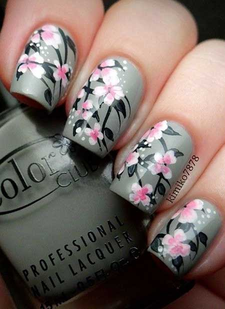 Gray And Pink Nail Designs
