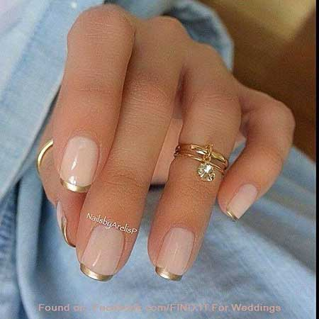 French Manicure with Gold