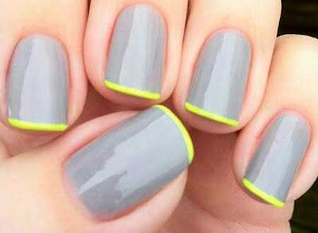 Grey And Yellow Nails