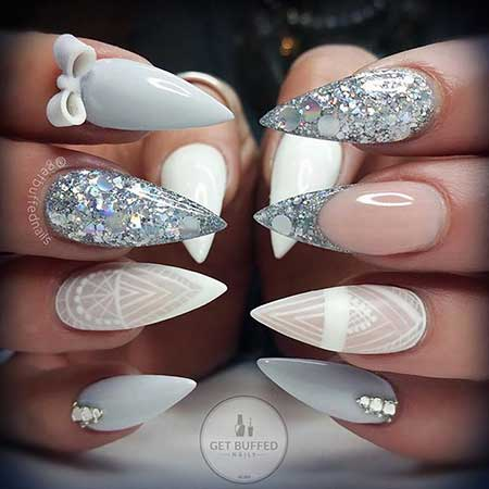 S, Stiletto Nail, Wedding Getbuffed, Stilettos, Grey - 50 Best Nail Design Ideas 2017 - Nail Art Designs 2017