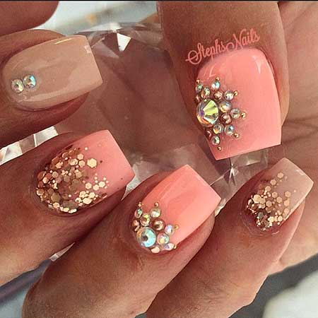35 really chic pink nail designs 2017 half moons gold nail pink and gold pink pink stephs gold prinsesfo Choice Image
