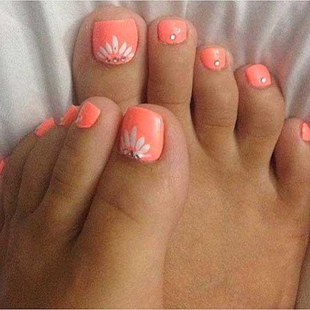 Toe Nail Toe, Pink, Pedicures, Art, White