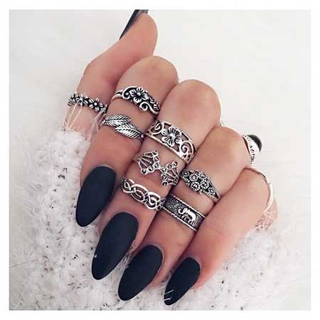 Nail Ring, Rings, Crown Ring, Knuckle Rings, Accessories, Black Nail, Jewelry, Matte,