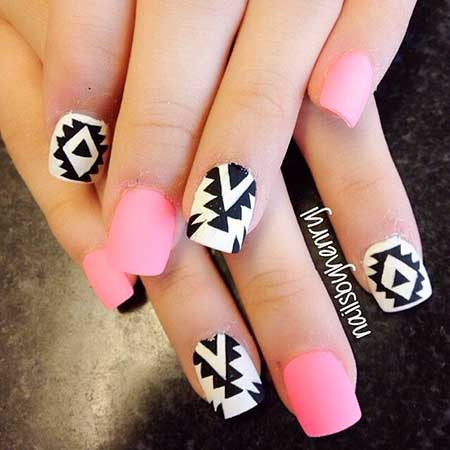 Nail, Tribal Nail, Artwhite Nail, White, Pink, Tribal