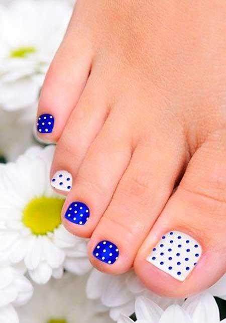 Toe Nail, Art, Toe, Polka Dots, Blue, White