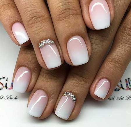 Wedding Nail, S, Accent Nail, White, Pink, Ombre