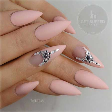 Stiletto Nail, Art, Pinkpointy, Nude, Pink, Stiletto, Peachy,
