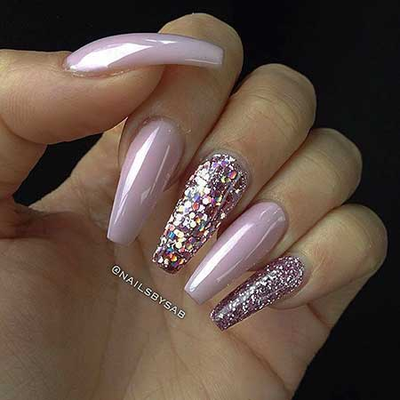 75 must see nail designs 2016 2017 pink glitter coffin nails prinsesfo Images