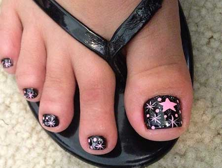 Toe Nail, Art, Toe, Black, Pink, Dot