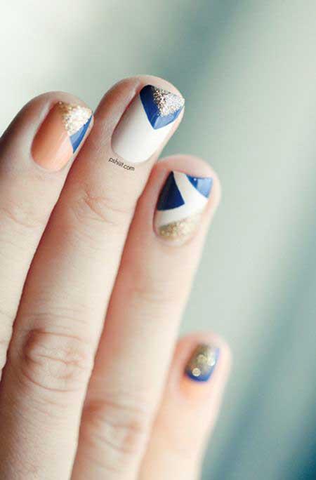 Nail, Art, Blue Glass Nail, Manicures, Chevron Nail, Blue, Geometric, Chevron
