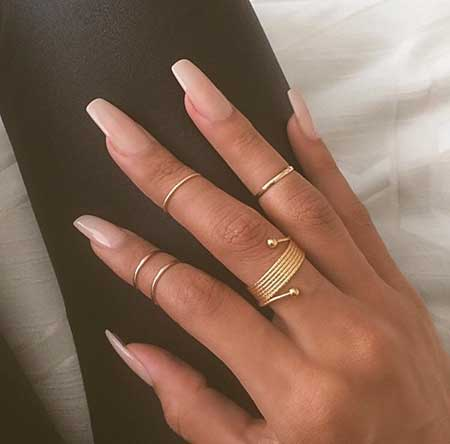 Rings, Stiletto Nail, Nude Coffin Nail, Nudecoffin Natural, Nude, Color - New Natural Nail Designs For 2017