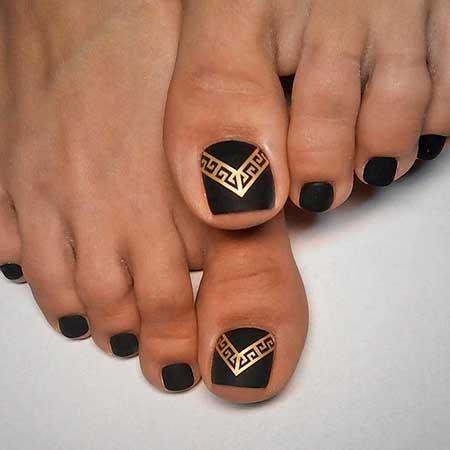 Nail, Tribal Nail, Gold Nail, Cross Nail, Art, Tribal, Gold - 29 Popular Toe Nail Designs You Should See