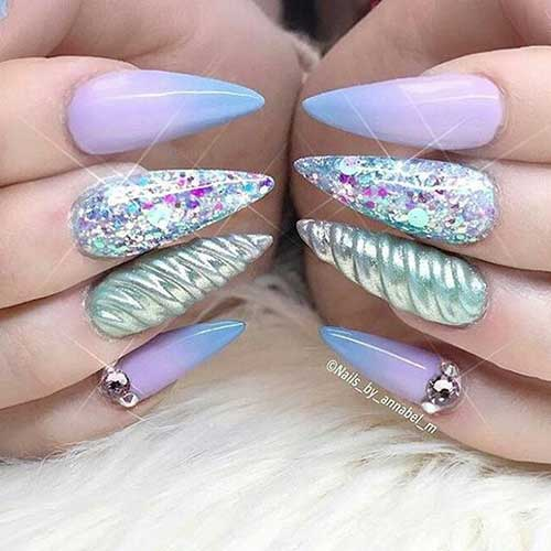 Stiletto Shape Nails Designs-13