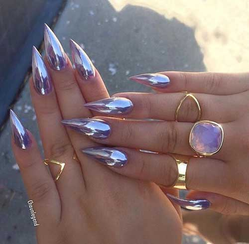 Stiletto Shape Nails Designs-7