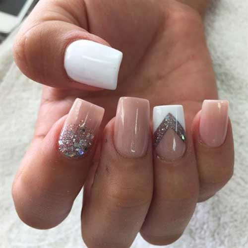 Outstanding nude base colored nail designs white and nude nail art idea prinsesfo Images