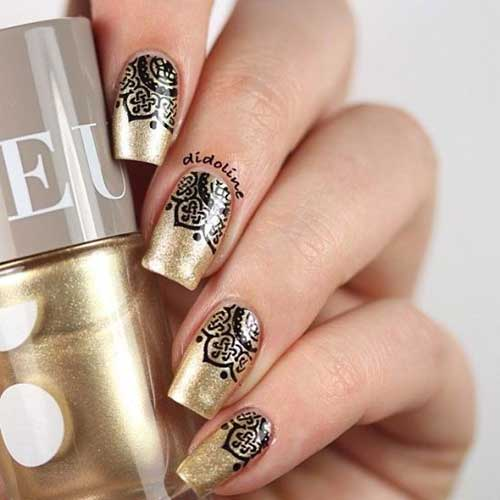 Golden Nail Designs-9