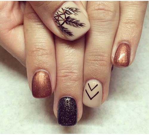 Fall Season Arrow And Feathered Nail Art