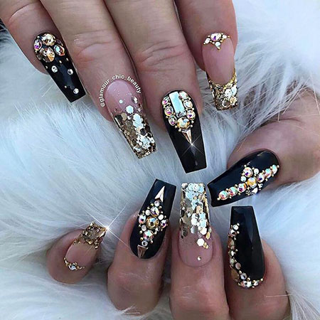 Coffin Nail, Nail, Themed, Rhinestones, Design, Coffin - 20 Best Nail Art Ideas With Rhinestones - Nail Art Designs 2017