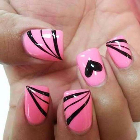 Pink And Black, Nail, Pink, Art, Design, 207