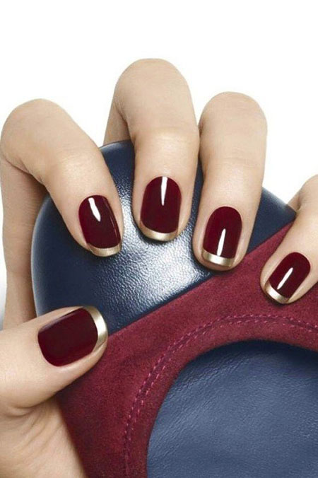 Burgundy French Manicure, Nail, Polish, Manicure, French