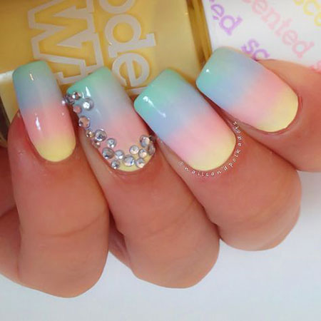 Cute Nail, Nail, Pastel, Gradient, Rhinestones, Design, Cute