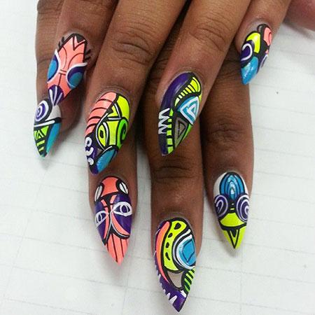 Tribal Nail, Nail, Art, Tribal, Stiletto, Neon, Design, Crazy