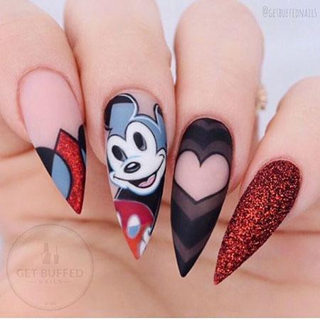 Mickey Nail, Nail, Acrylic, Halloween, Glitter, Disney