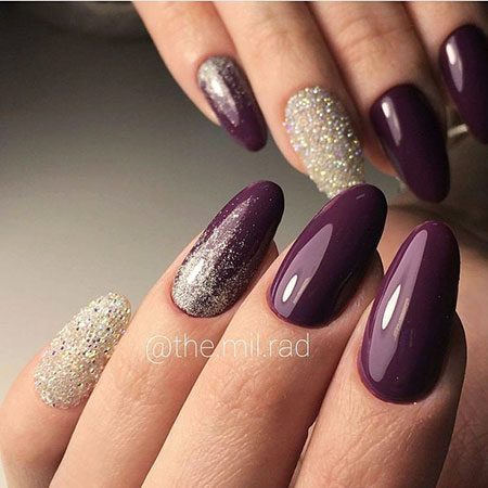 Oval Nail, Nail, Oval, Glitter, Design, Coffin, Bright, Art