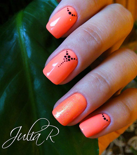 Orange Nail, Nail, Orange, Manicure, Cute, Summer, Simple