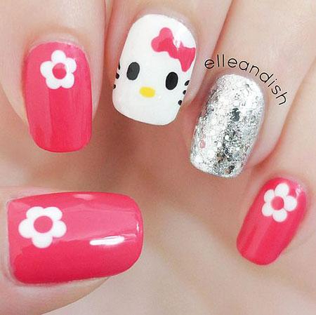 Cute Nail Art Kitty Kids Girls Easy Design