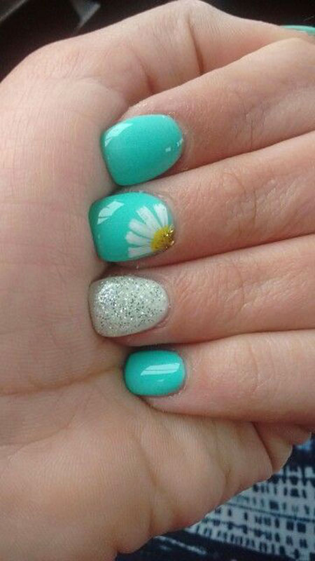 Nails for Kids, Nail, Blue, Summer, Spring, Sparkle, Short, Mint, Kids